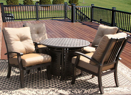 5PC BARBADOS CUSHION OUTDOOR PATIO DINING SET FOR 4 PERSON WITH ROUND FI... - $2,276.01