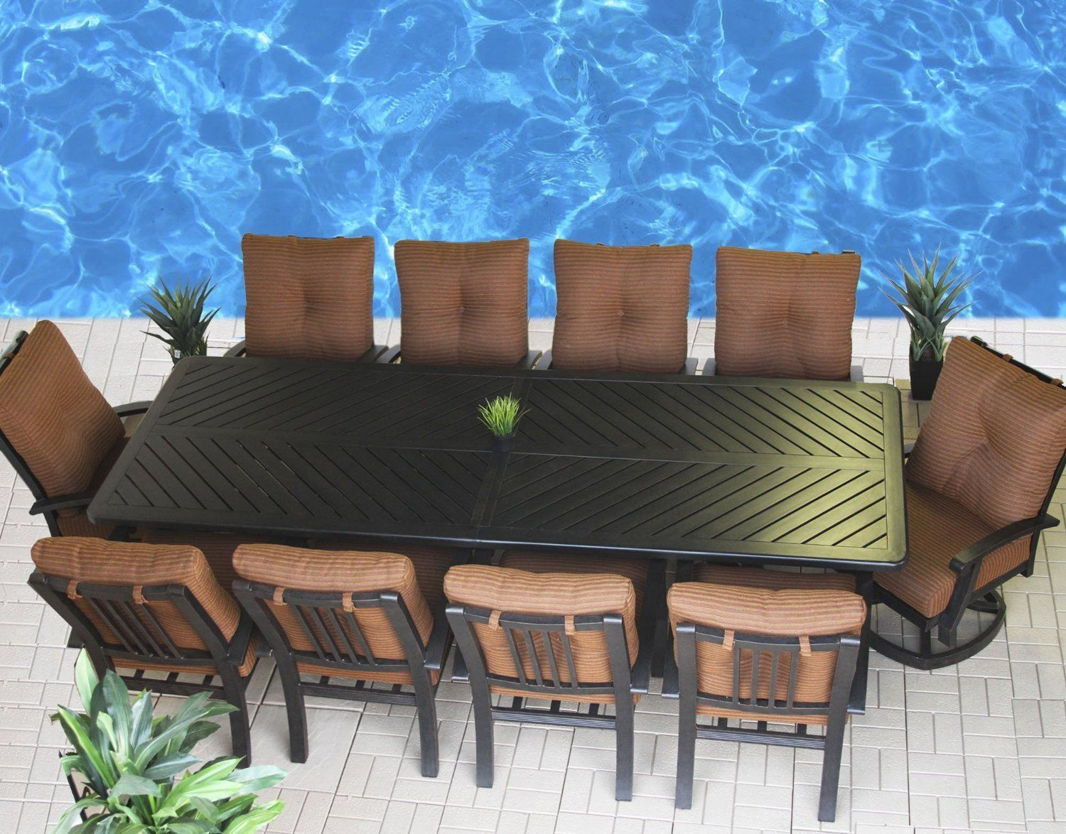 BARBADOS OUTDOOR PATIO 11PC DINING SET WITH SERIES 4000 44 X 120 RECTANGLE TABLE