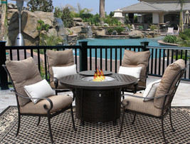 5PC FIRE TABLE CAST ALUMINUM TORTUGA OUTDOOR PATIO FURNITURE DINING SET ... - $2,177.01