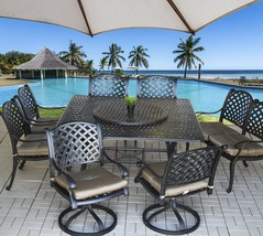 "9 pc Cast Aluminum Nassau Outdoor Patio Dining Set with 71"" Round Table ... - $2,769.03"