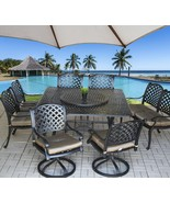 """9 pc Cast Aluminum Nassau Outdoor Patio Dining Set with 71"""" Round Table ... - $2,769.03"""