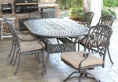7PC Eli PATIO DINING SET WITH 42X87 OVAL TABLE SERIES 2000 ANTIQUE BRONZE FINISH