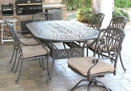 7PC Eli PATIO DINING SET WITH 42X87 OVAL TABLE SERIES 2000 ANTIQUE BRONZ... - $2,661.12