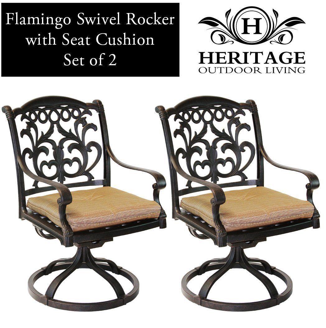 Patio chairs outdoor Cast Aluminum swivel rocker Flamingo Antique Bronze Set 2