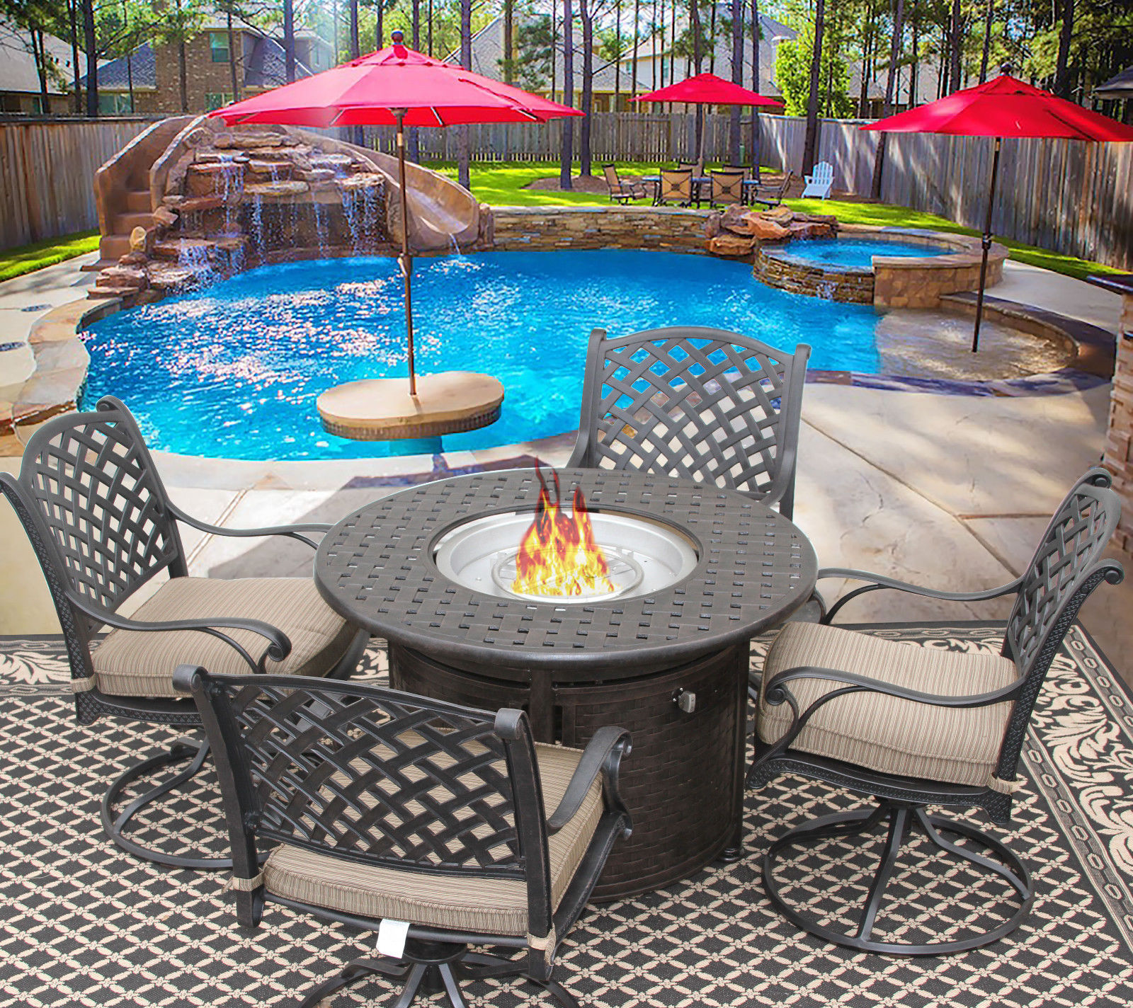 5 PC NASSAU OUTDOOR PATIO DINING SET FOR 4 PERSON WITH ROUND FIRE TABLE / PIT