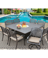 9 PC CAST ALUMINUM NASSAU OUTDOOR PATIO DINING SET FOR 8 PERSON WITH FIR... - $3,365.01
