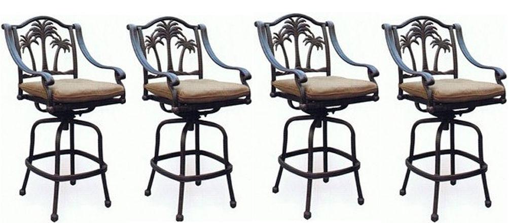 Patio set of 4 Bar stool Palm tree outdoor swivel barstools Bronze