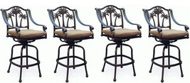 Patio set of 4 Bar stool Palm tree outdoor swivel barstools Bronze - $1,376.10