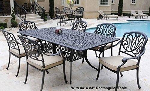 """7PC Eli ALUMINUM PATIO DINING SET 44""""X84"""" TABLE SERIES 2000 - ANTIQUE BRONZE"""