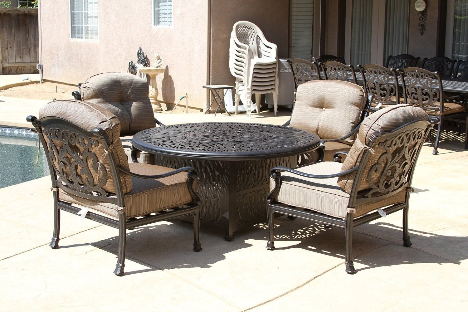 "FLAMINGO 5PC DEEP SEATING SET – 4 CLUB CHAIRS AND 52"" ROUND FIRE PIT"