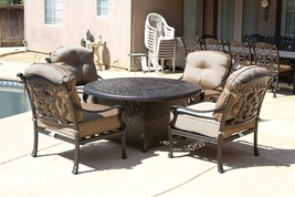 "FLAMINGO 5PC DEEP SEATING SET – 4 CLUB CHAIRS AND 52"" ROUND FIRE PIT - $3,476.88"