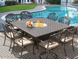 9 PC CAST ALUMINUM ELI OUTDOOR PATIO DINING SET FOR 8 PERSON WITH FIRE T... - $3,365.01