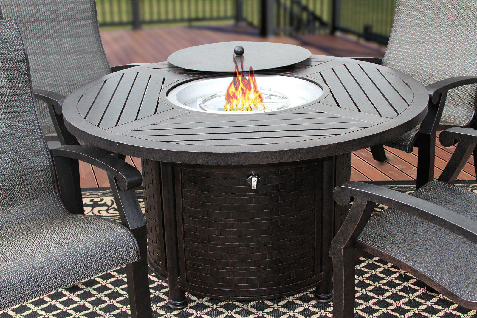 5 Piece FIRE TABLE BARBADOS SLING OUTDOOR PATIO FURNITURE DINING SET FIRE PIT image 2