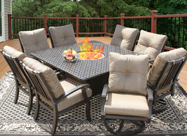 9 PC CAST ALUMINUM BARBADOS CUSHION OUTDOOR PATIO DINING SET 8 PERSON FI... - $4,157.01