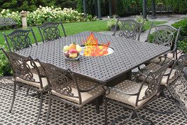 9 PC CAST ALUMINUM TUSCANA OUTDOOR PATIO DINING SET FOR 8 PERSON WITH FI... - $3,365.01