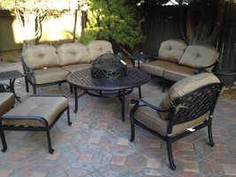 NASSAU 8PC DEEP SEATING SET WITH WOOD-BURNING FIRE PIT - ANTIQUE BRONZE - $4,086.72