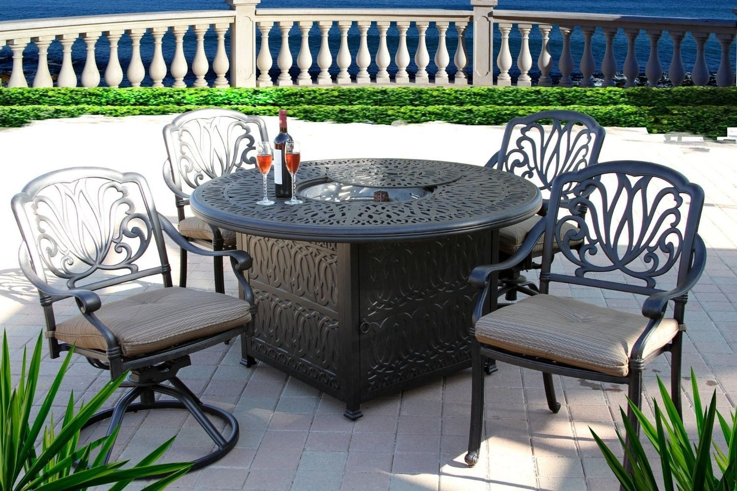 "5PC OUTDOOR Patio DINING SET 52"" ROUND FIRE PIT Table ANTIQUE BRONZE Finish"