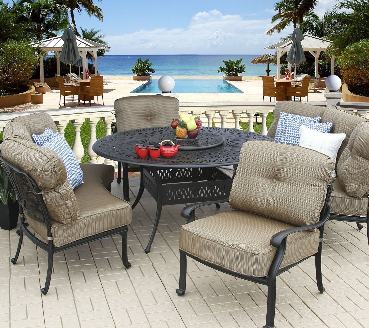 """5PC DEEP SEATING 4 PERSONS DINING SET WITH CURVED SOFAS, CLUB CHAIRS, 60"""" TABLE"""