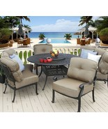 5PC DEEP SEATING 4 PERSONS DINING SET WITH CURVED SOFAS, CLUB CHAIRS, 60... - $3,997.62