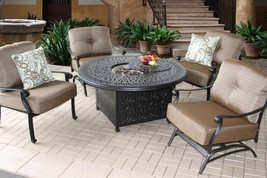 CONVERSATION SET ELISABETH FIRE PIT OUTDOOR PATIO 4 PERSON DEEP SEATING SET - $3,659.04