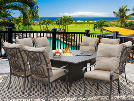 9 PC CAST ALUMINUM TORTUGA OUTDOOR PATIO DINING SET 8 PERSON WITH FIRE T... - $3,563.01