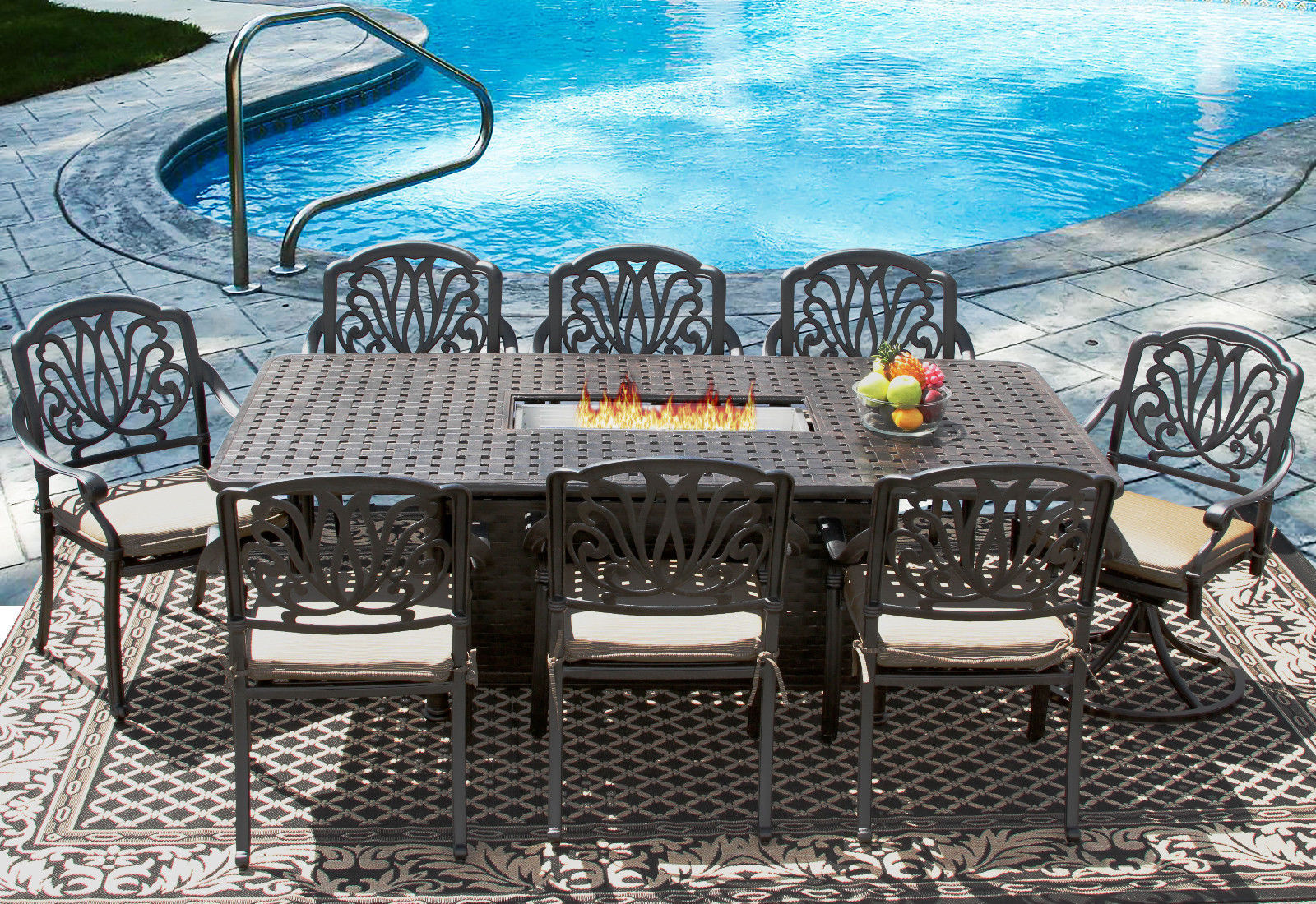 9 pc Eli Outdoor Patio Dining Set for 8 Person with Rectangle firetable - Atlas