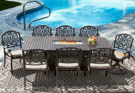 9 pc Eli Outdoor Patio Dining Set for 8 Person with Rectangle firetable ... - $3,365.01