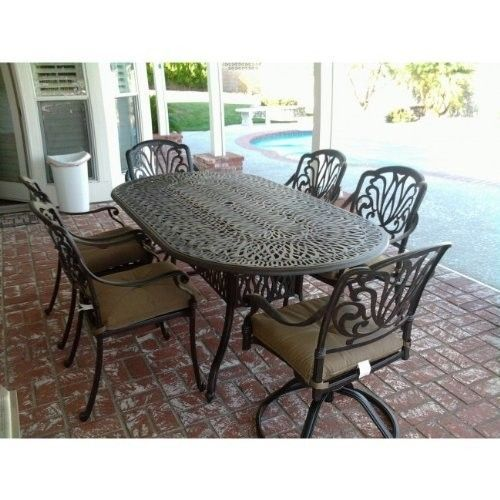 7PC Eli OUTDOOR PATIO DINING SET 42 X 72 OVAL TABLE SERIES 2000 - ANTIQUE BRONZ