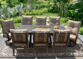 9 PC CAST ALUMINUM BARBADOS CUSHION OUTDOOR PATIO DINING SET FOR 8 PERSO... - $4,157.01
