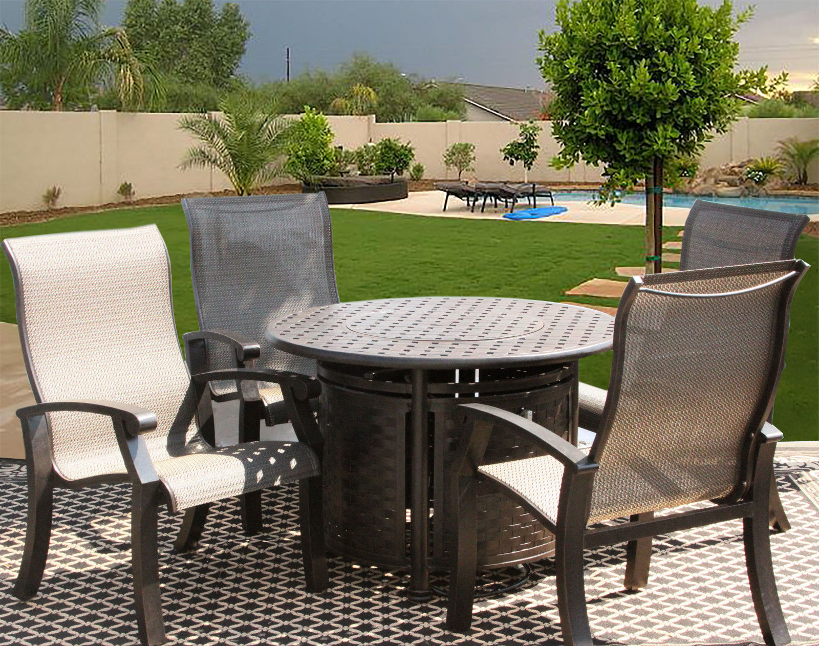5 PC BARBADOS SLING OUTDOOR PATIO DINING SET FOR 4 PERSON WITH ROUND FIRE TABLE