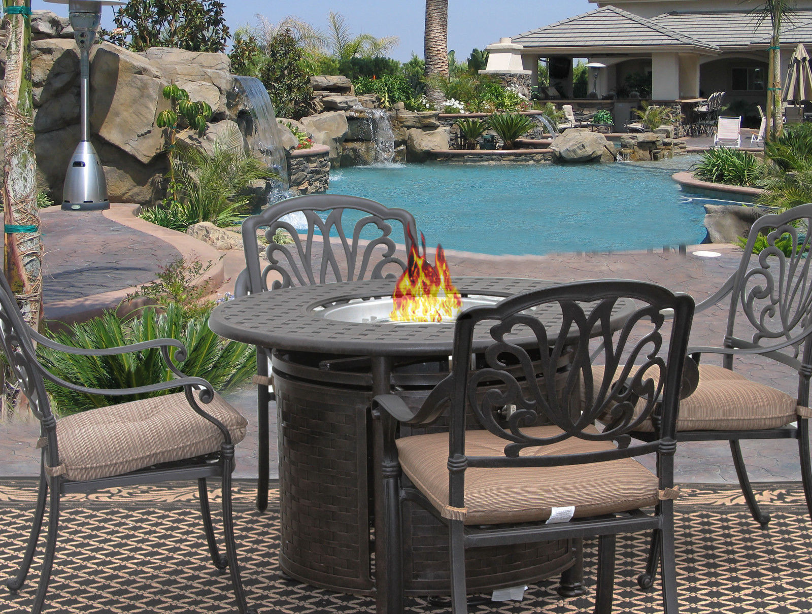 5 PC ELI OUTDOOR PATIO DINING SET FOR 4 PERSON WITH ROUND FIRE TABLE