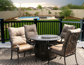 5 PC FIRE TABLE CAST ALUMINUM TORTUGA OUTDOOR PATIO FURNITURE DINING SET - $2,276.01