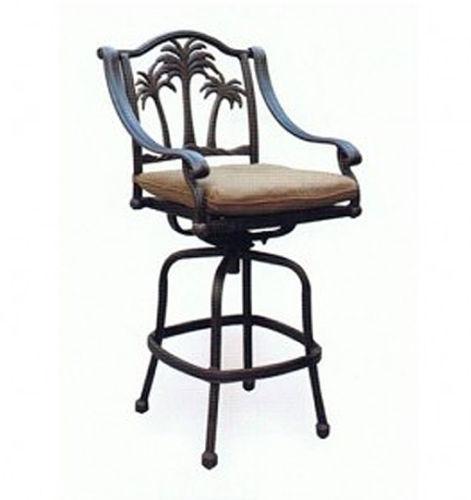 Patio set of 4 Bar stool Palm tree outdoor swivel barstools Bronze image 3