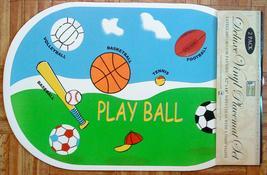 2-Pc Foam Back Vinyl Placemats Playball Football Volleyball Baseball Basketball  - $2.99