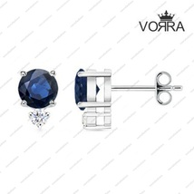 925 Sterling Silver Round Cut Blue Sapphire & White CZ Stud Earring for you dear - £12.43 GBP