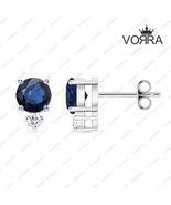 925 Sterling Silver Round Cut Blue Sapphire & White CZ Stud Earring for ... - £11.90 GBP
