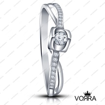 925 Sterling Silver Round Cut White CZ Impressive Promise Ring in Size 5 6 7 8 9 - £30.39 GBP