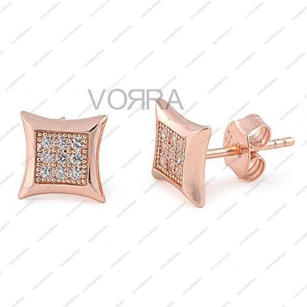 Primary image for 14 KT Rose Gold Plated Round Cut White CZ Square Shape Stud Earring for you dear