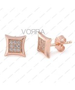 14 KT Rose Gold Plated Round Cut White CZ Square Shape Stud Earring for ... - £12.20 GBP