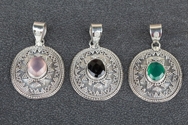 Fashionable Handmade MIxed Lot Of 3 Pcs Multi-Color Gemstone Pendants WB... - $49.99