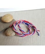 4th of July Red White and Blue Spiral Hemp Friendship Bracelet Set - $11.00