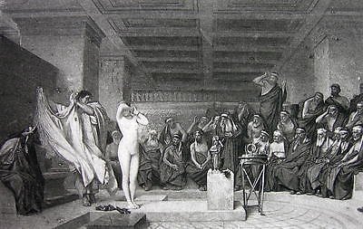 NUDE Greek Girl Phryne before Judges by Gerome - 1880s Photogravure Print