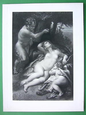 NUDE Jupiter & Sleeping Antiope & Cupid - SUPERB Victorian Era Antique Print