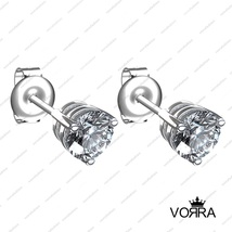 925 Silver Round Cut White Cubic Zirconia Ravishing Stud Earring for daily use  - $43.63