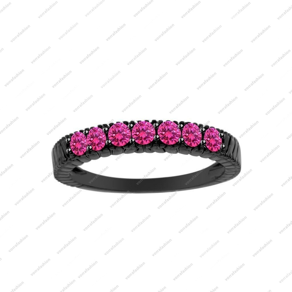 Black Gold Plated 925 Sterling Silver Round Cut Pink Sapphire Women's Band Ring