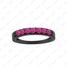 Black Gold Plated 925 Sterling Silver Round Cut Pink Sapphire Women's Band Ring - $78.99