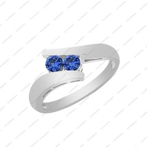 0.33 ct Blue Sapphire in 925 Sterling Silver Wedding Band Bypass Ring for you - £35.17 GBP
