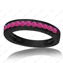 Black Gold Plated 925 Sterling Silver Pink Sapphire Ravishing Women's Band Ring - £61.01 GBP