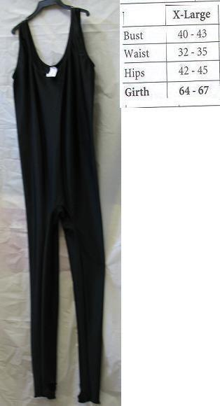 ADULT UNITARD BLACK SLEEVELES LADIES XLG FULL BODY SUIT