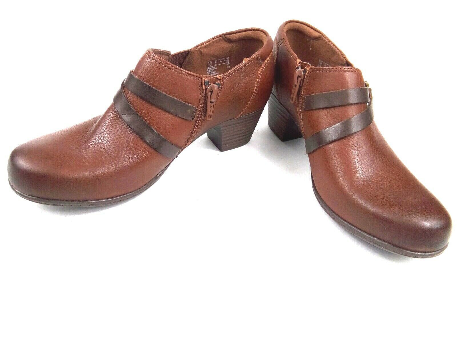 Clarks Women's Booties Collection Soft Cushion Brown Leather Ankle Boots Sz 6